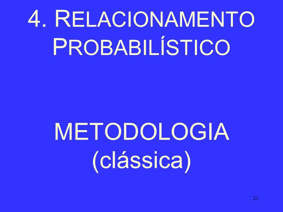 4. RELACIONAMENTO PROBABILÍSTICO METODOLOGIA (clássica)