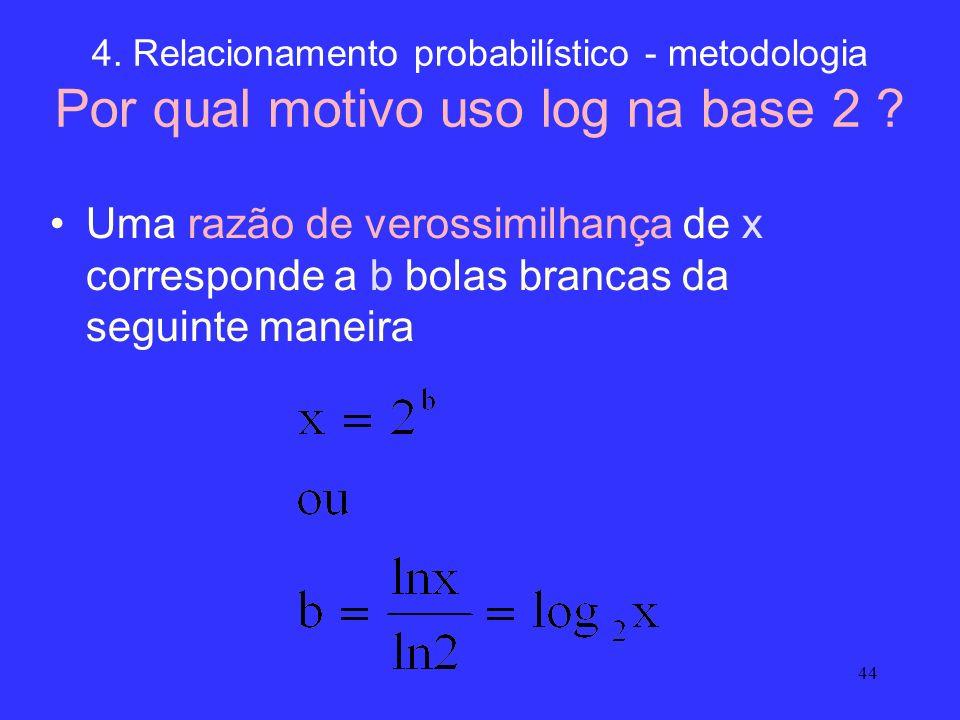 4. Relacionamento probabilístico - metodologia Por qual motivo uso log na base 2