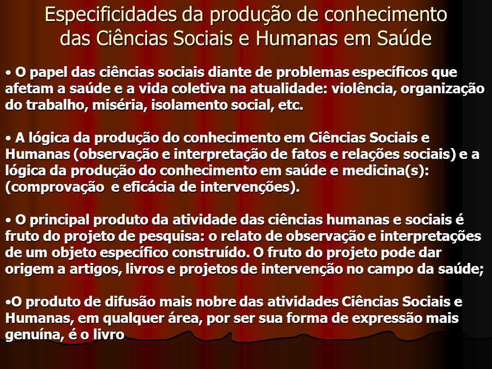 Especificidades da produção de conhecimento das Ciências Sociais e Humanas em Saúde