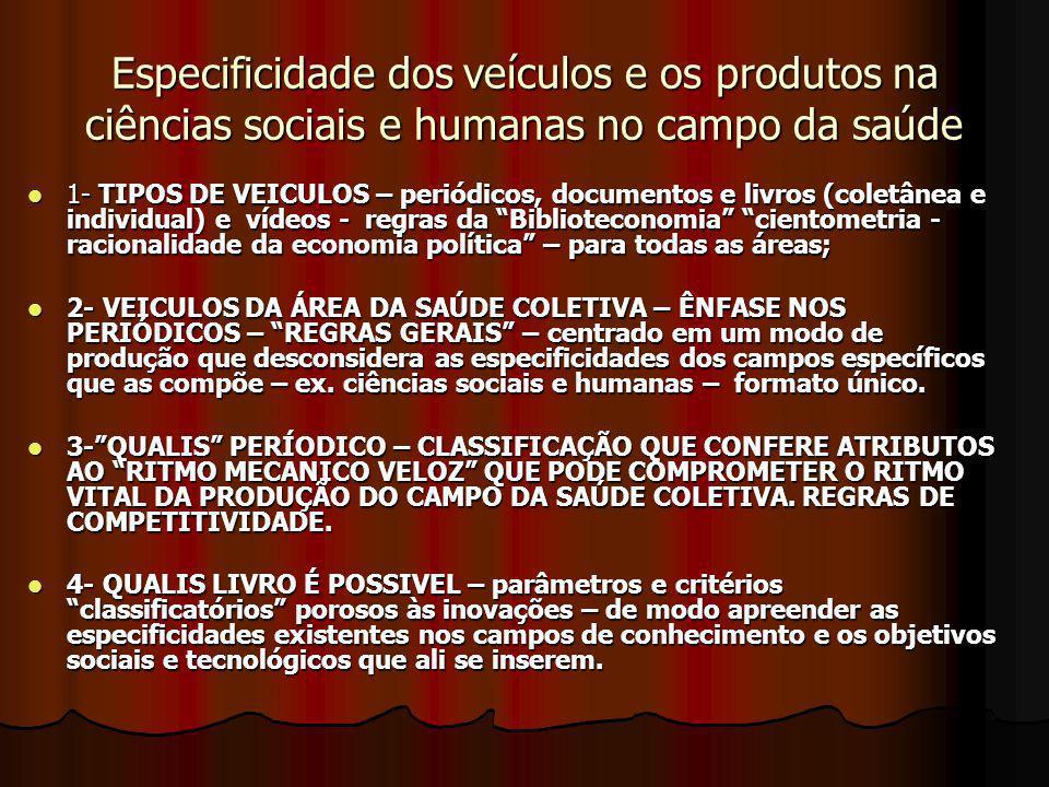 Especificidade dos veículos e os produtos na ciências sociais e humanas no campo da saúde