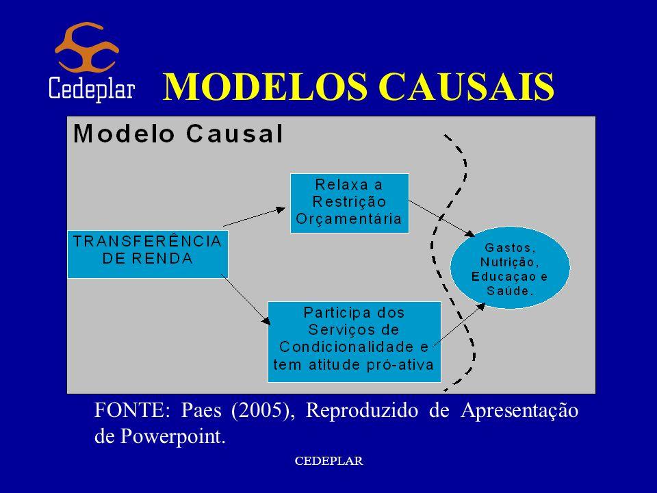 MODELOS CAUSAIS FONTE: Paes (2005), Reproduzido de Apresentação de Powerpoint. CEDEPLAR