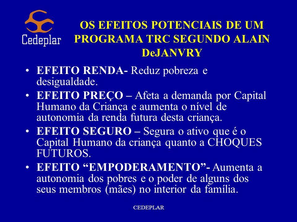 OS EFEITOS POTENCIAIS DE UM PROGRAMA TRC SEGUNDO ALAIN DeJANVRY