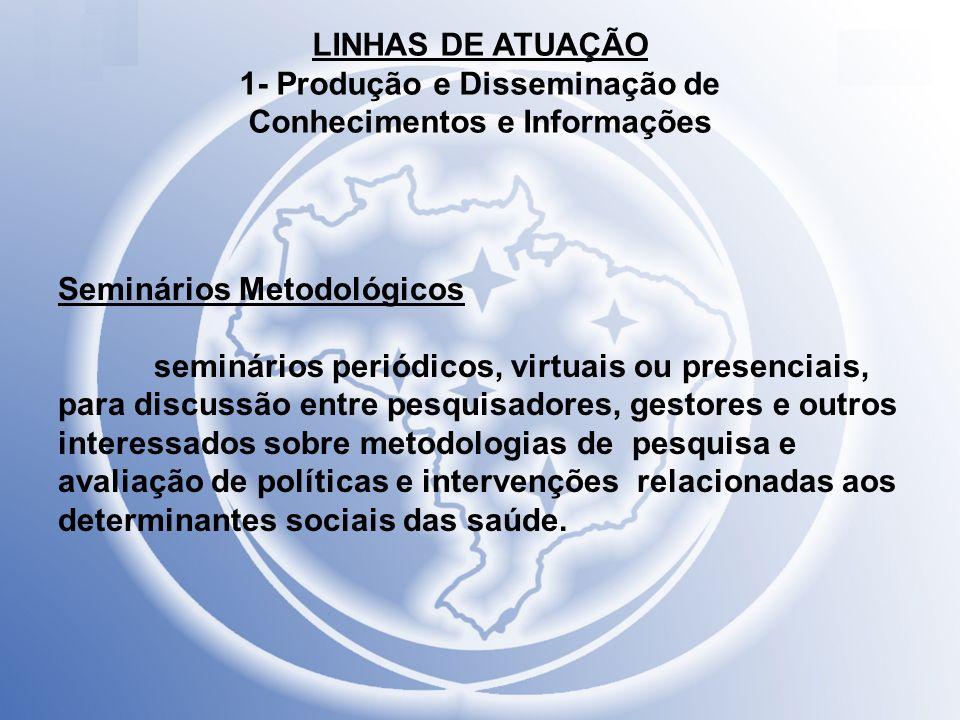 LINHAS DE ATUAÇÃO 1- Produção e Disseminação de
