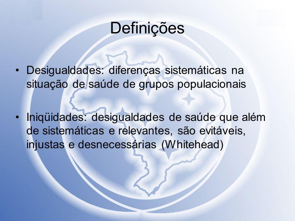 DefiniçõesDesigualdades: diferenças sistemáticas na situação de saúde de grupos populacionais.