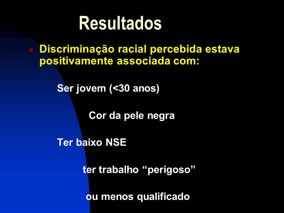 ResultadosDiscriminação racial percebida estava positivamente associada com: Ser jovem (<30 anos) Cor da pele negra.