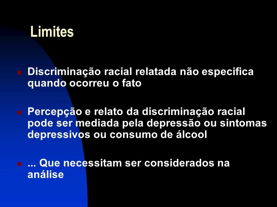 Limites Discriminação racial relatada não especifica quando ocorreu o fato.