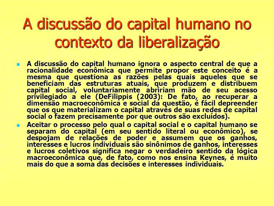 A discussão do capital humano no contexto da liberalização