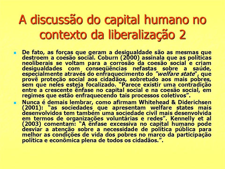 A discussão do capital humano no contexto da liberalização 2
