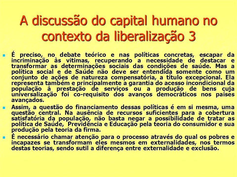 A discussão do capital humano no contexto da liberalização 3