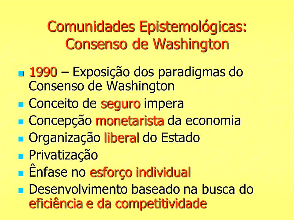 Comunidades Epistemológicas: Consenso de Washington