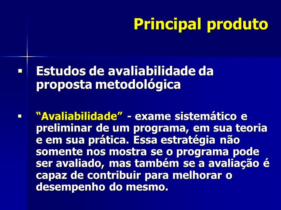 Principal produto Estudos de avaliabilidade da proposta metodológica