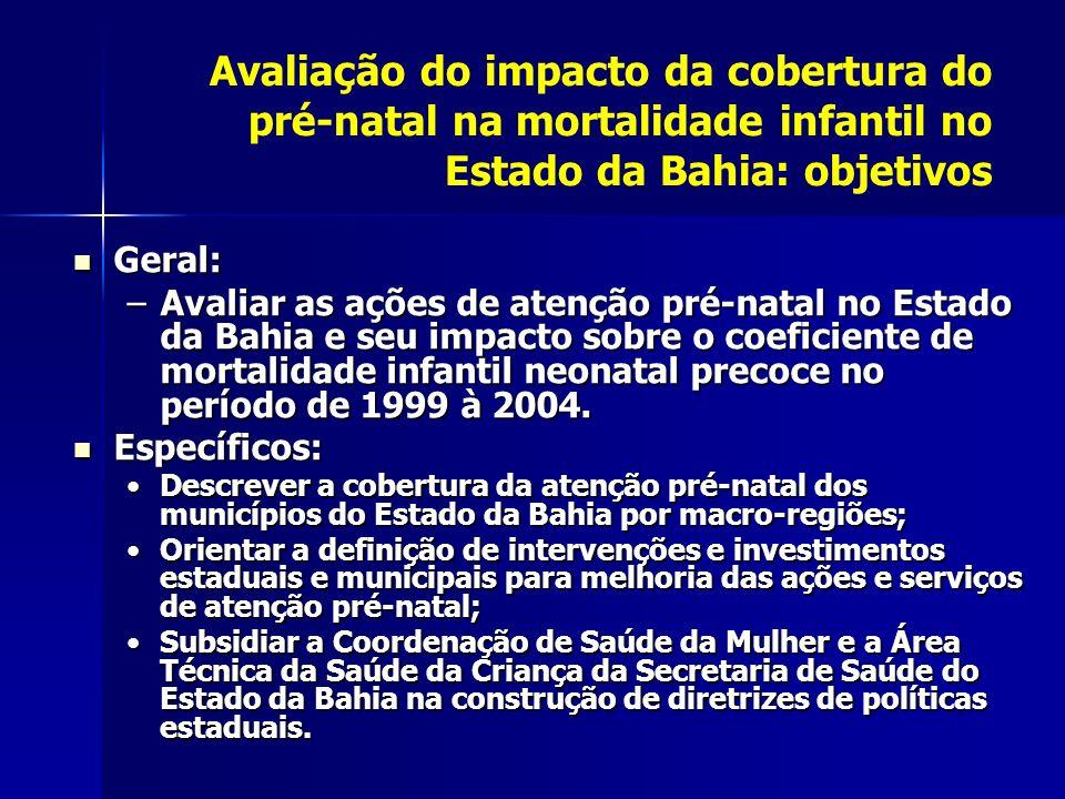 Avaliação do impacto da cobertura do pré-natal na mortalidade infantil no Estado da Bahia: objetivos