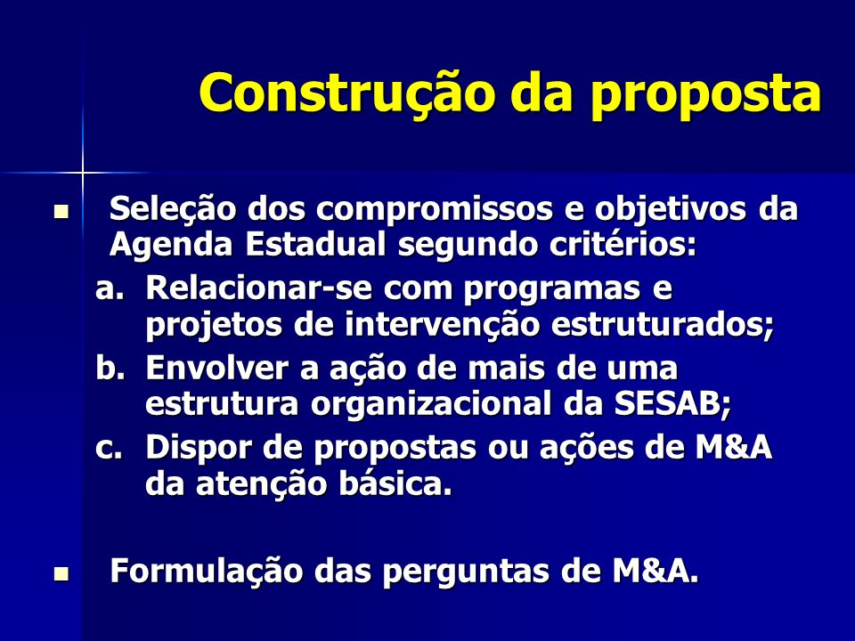 Construção da proposta
