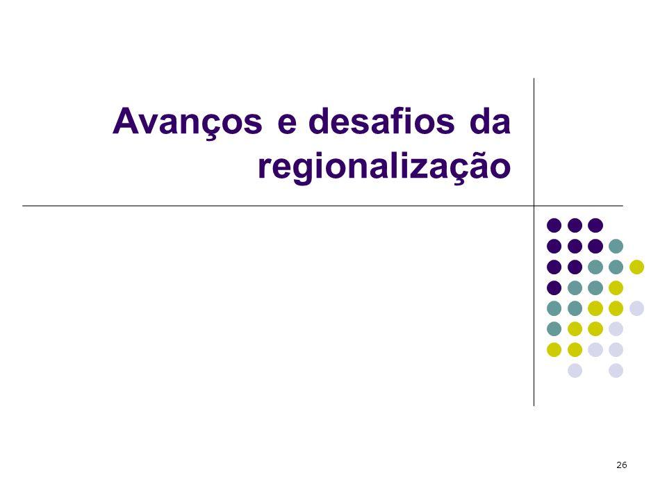 Avanços e desafios da regionalização