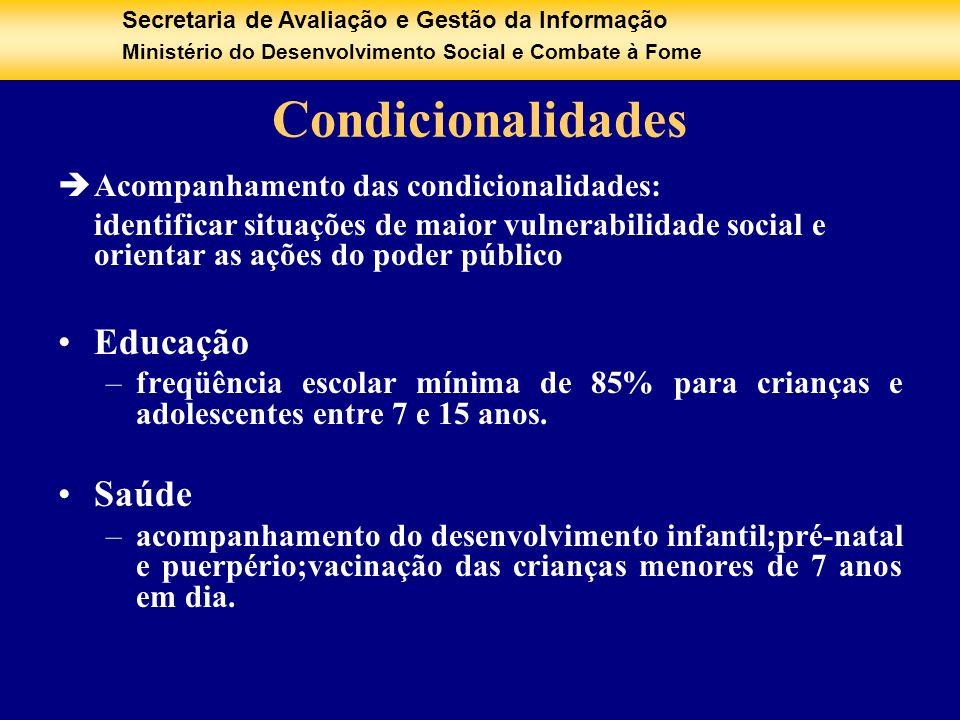 Condicionalidades Educação Saúde Acompanhamento das condicionalidades: