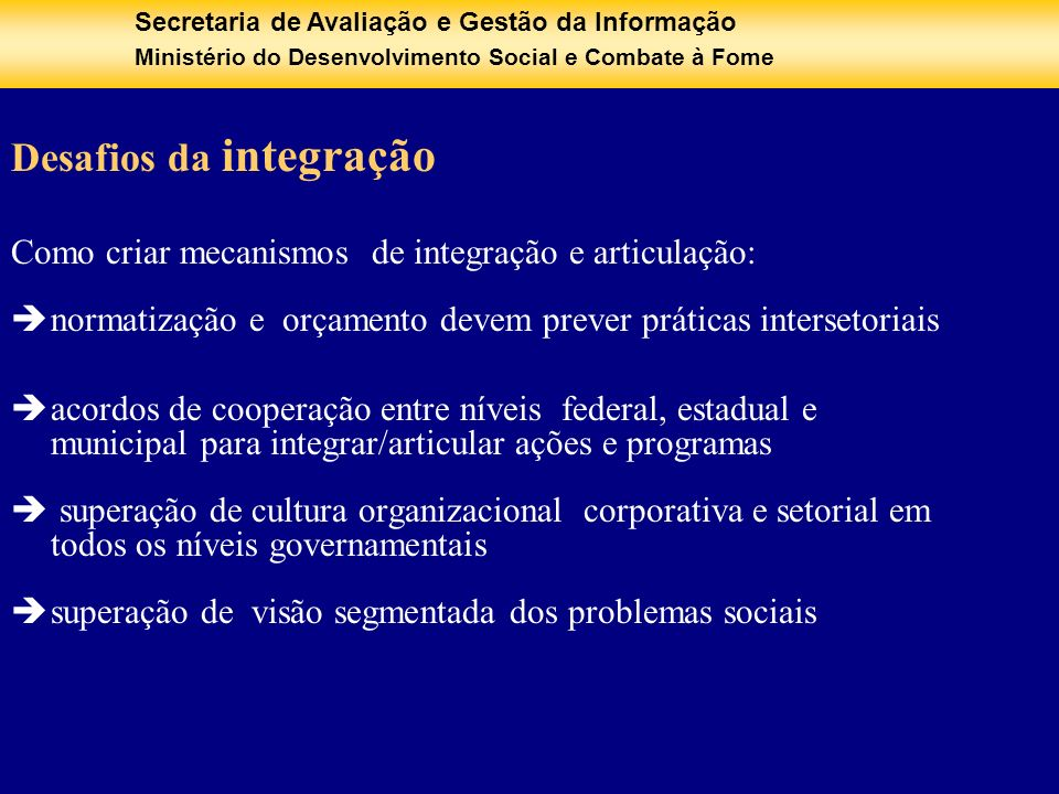 Desafios da integração