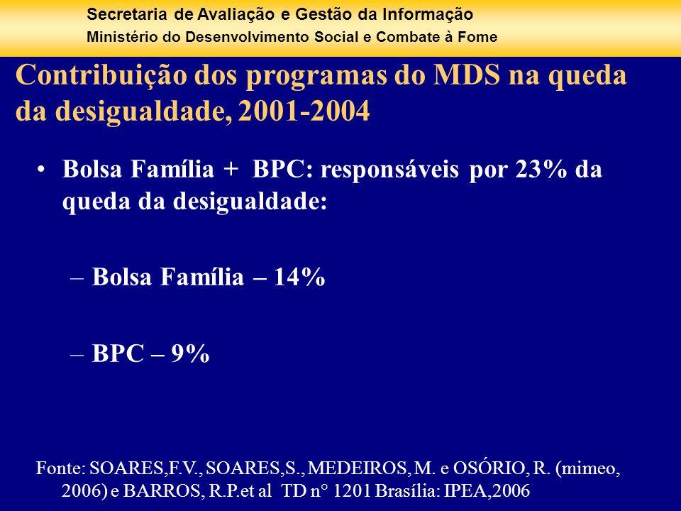 Contribuição dos programas do MDS na queda da desigualdade, 2001-2004