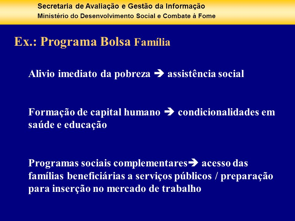 Ex.: Programa Bolsa Família