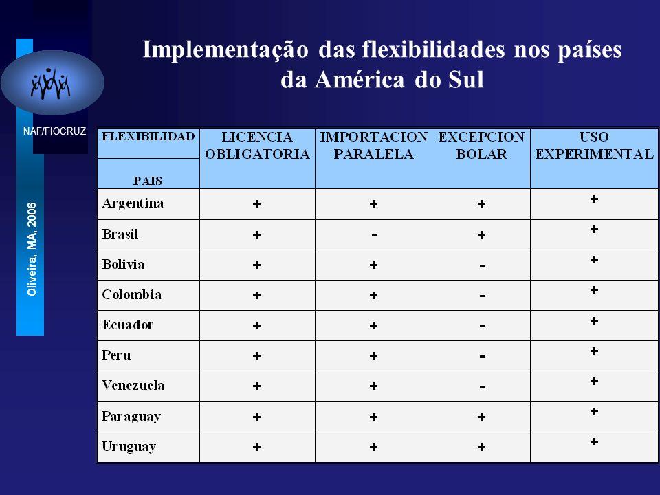 Implementação das flexibilidades nos países da América do Sul