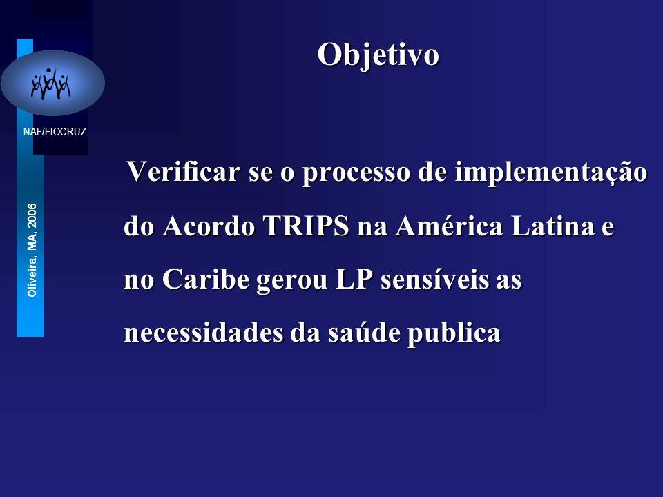 Objetivo Verificar se o processo de implementação do Acordo TRIPS na América Latina e no Caribe gerou LP sensíveis as necessidades da saúde publica.