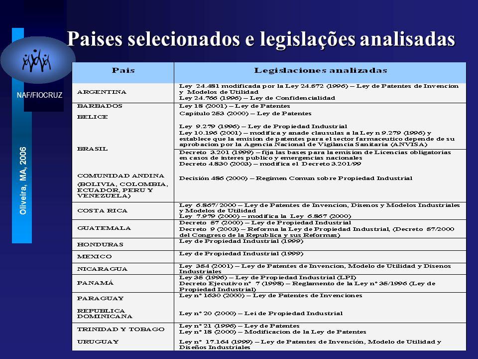 Paises selecionados e legislações analisadas