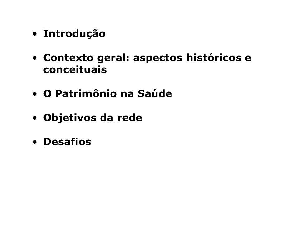 Introdução Contexto geral: aspectos históricos e conceituais. O Patrimônio na Saúde. Objetivos da rede.