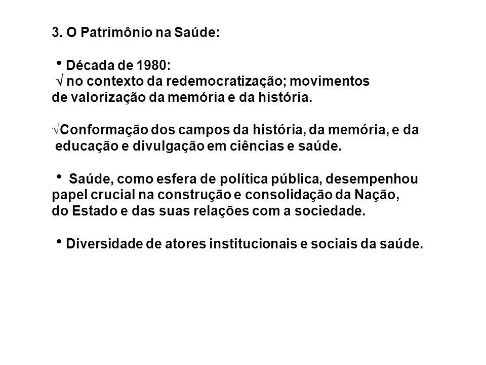 3. O Patrimônio na Saúde: Década de 1980:  no contexto da redemocratização; movimentos. de valorização da memória e da história.