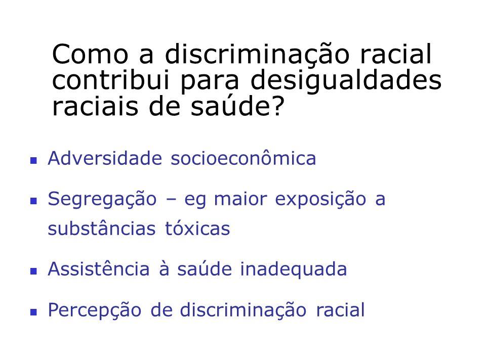 Como a discriminação racial contribui para desigualdades raciais de saúde