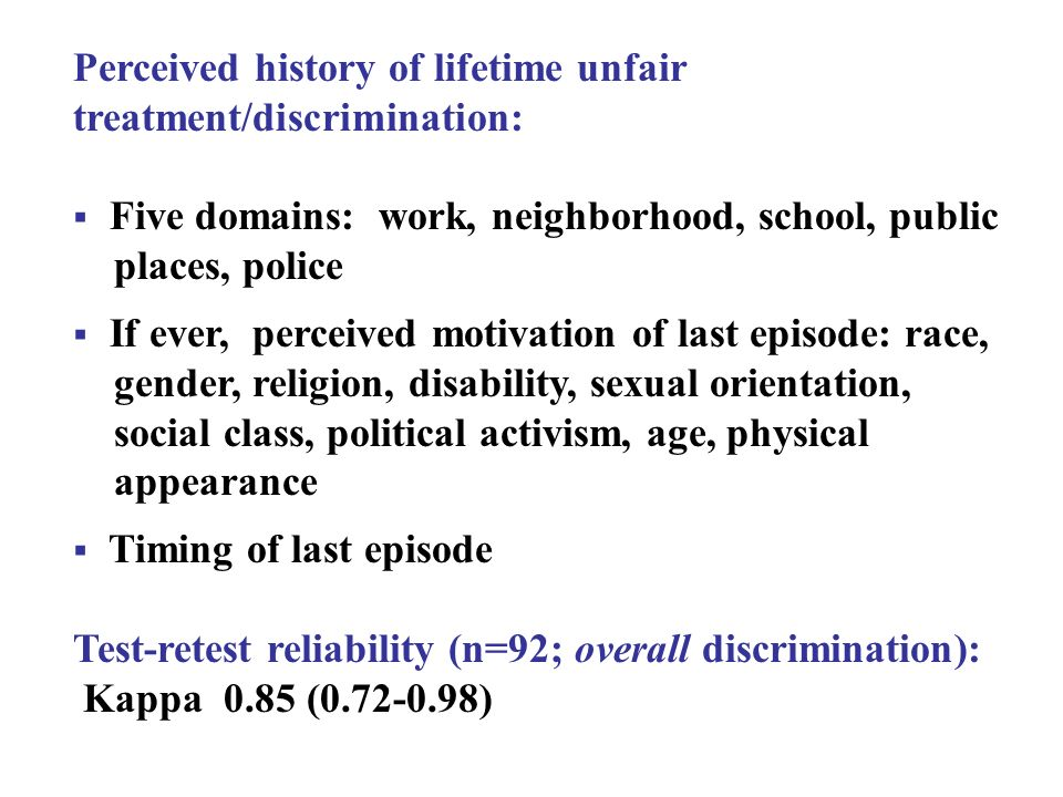 Perceived history of lifetime unfair treatment/discrimination: