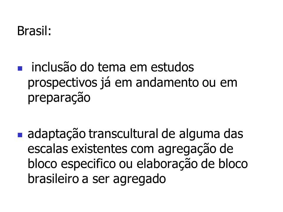 Brasil:inclusão do tema em estudos prospectivos já em andamento ou em preparação.