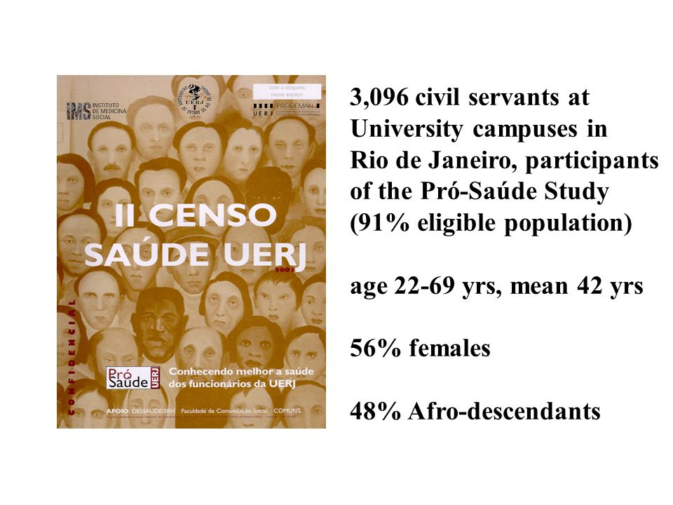 3,096 civil servants at University campuses in. Rio de Janeiro, participants of the Pró-Saúde Study.