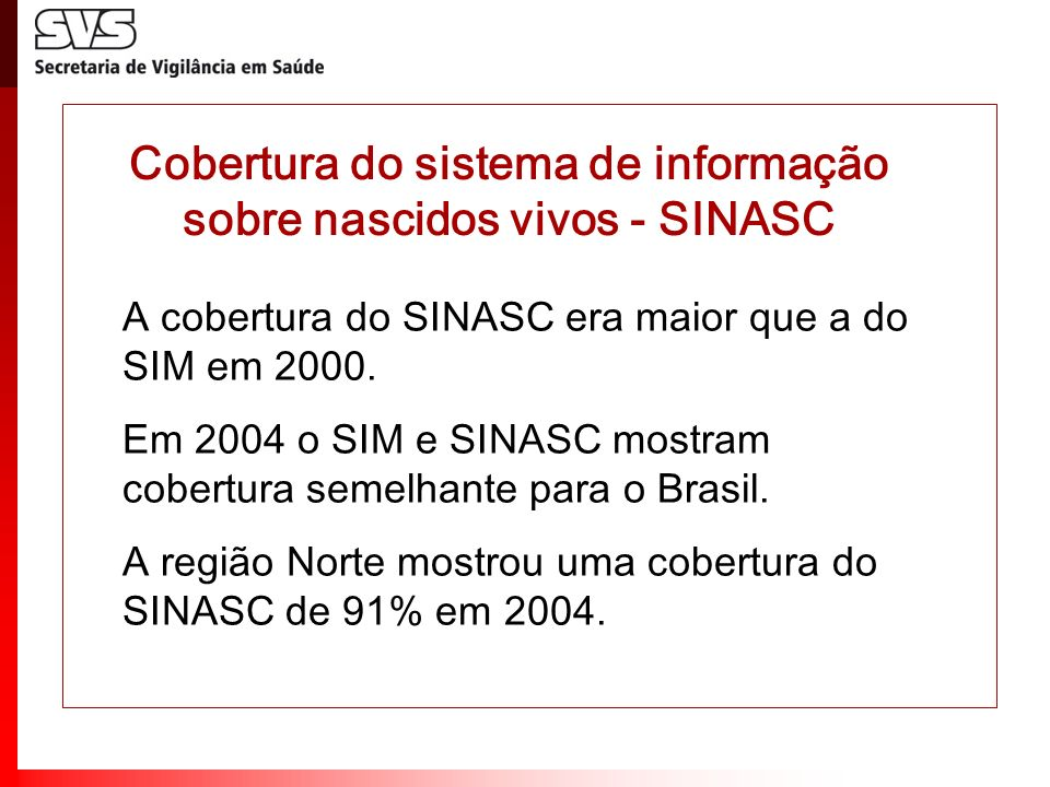 Cobertura do sistema de informação sobre nascidos vivos - SINASC