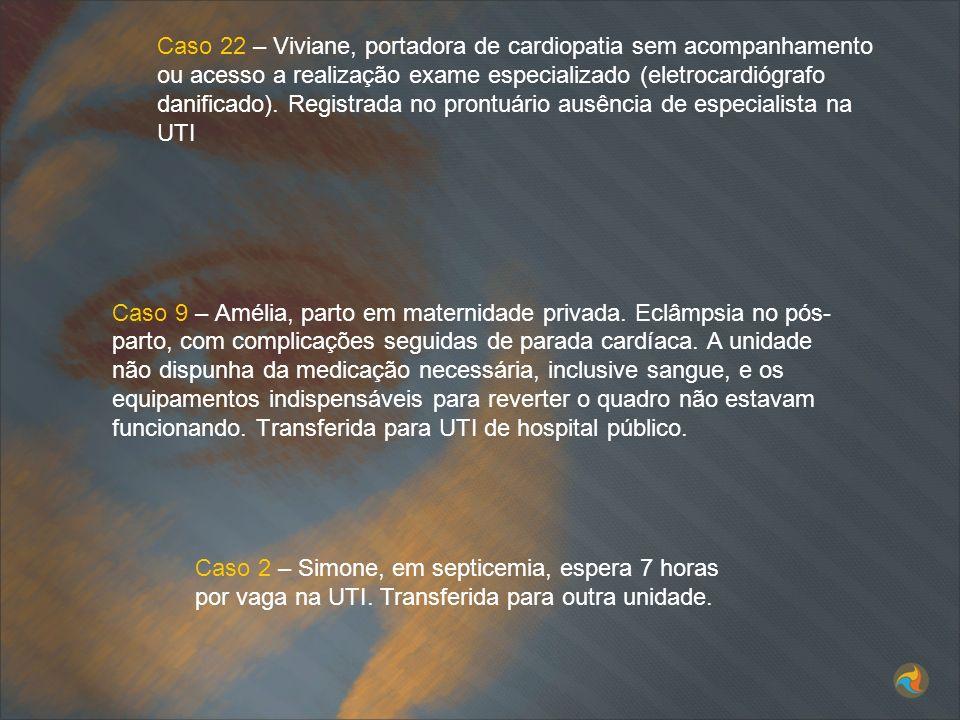 Caso 22 – Viviane, portadora de cardiopatia sem acompanhamento ou acesso a realização exame especializado (eletrocardiógrafo danificado). Registrada no prontuário ausência de especialista na UTI