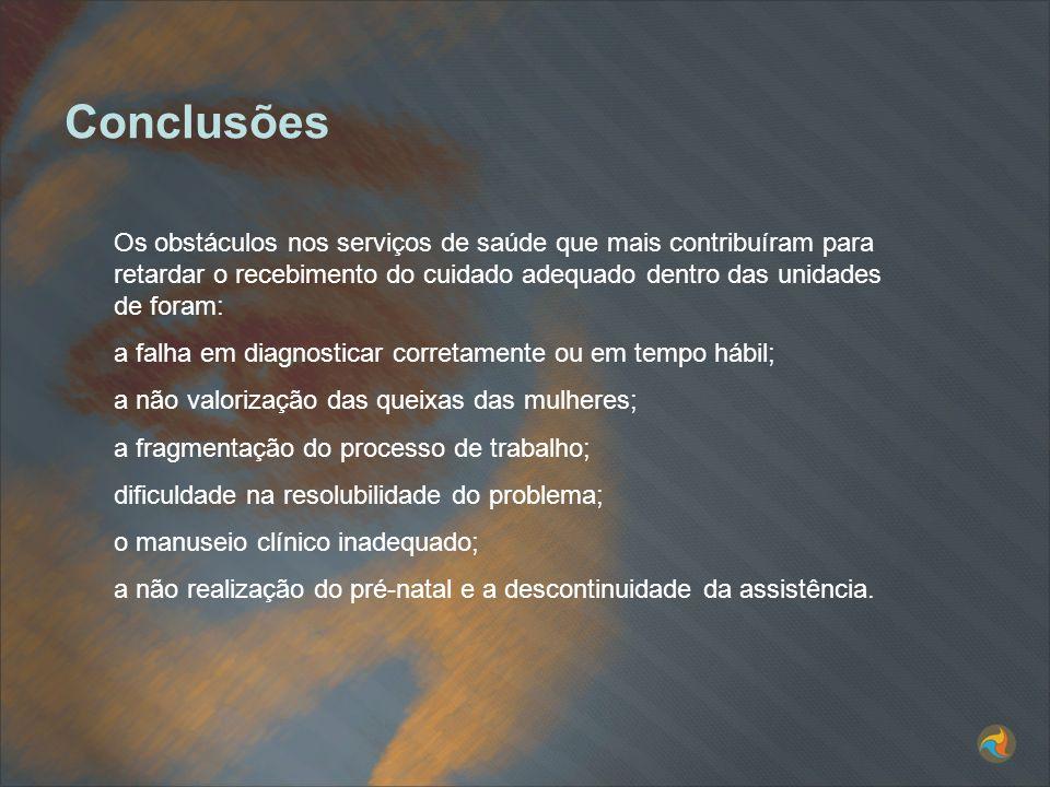 ConclusõesOs obstáculos nos serviços de saúde que mais contribuíram para retardar o recebimento do cuidado adequado dentro das unidades de foram: