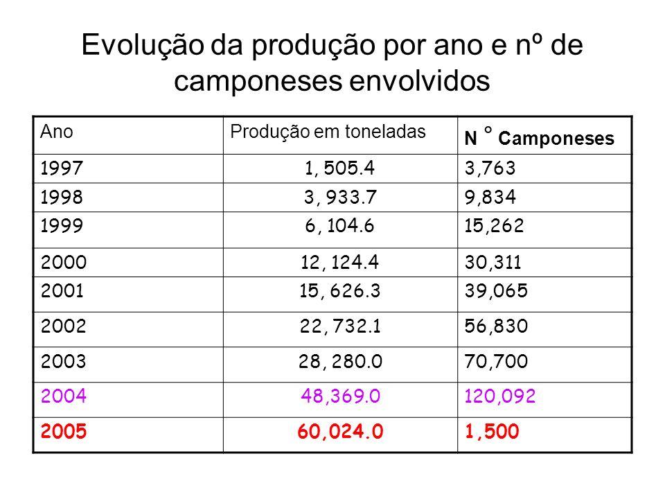 Evolução da produção por ano e nº de camponeses envolvidos