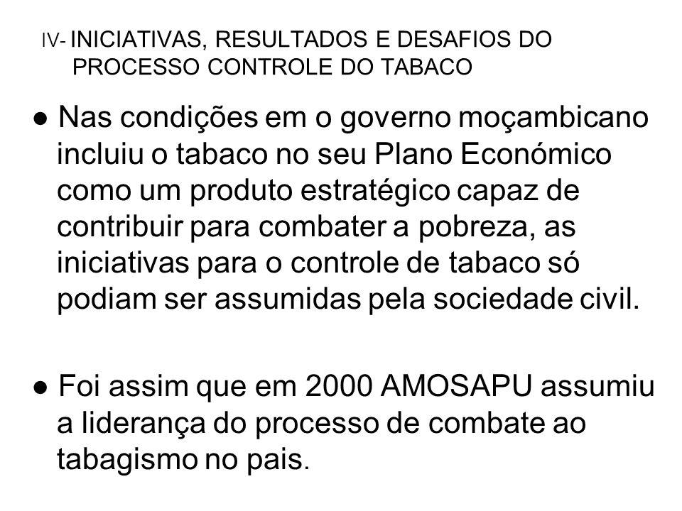 IV- INICIATIVAS, RESULTADOS E DESAFIOS DO PROCESSO CONTROLE DO TABACO