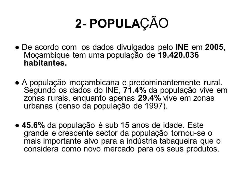 2- POPULAÇÃO ● De acordo com os dados divulgados pelo INE em 2005, Moçambique tem uma população de 19.420.036 habitantes.