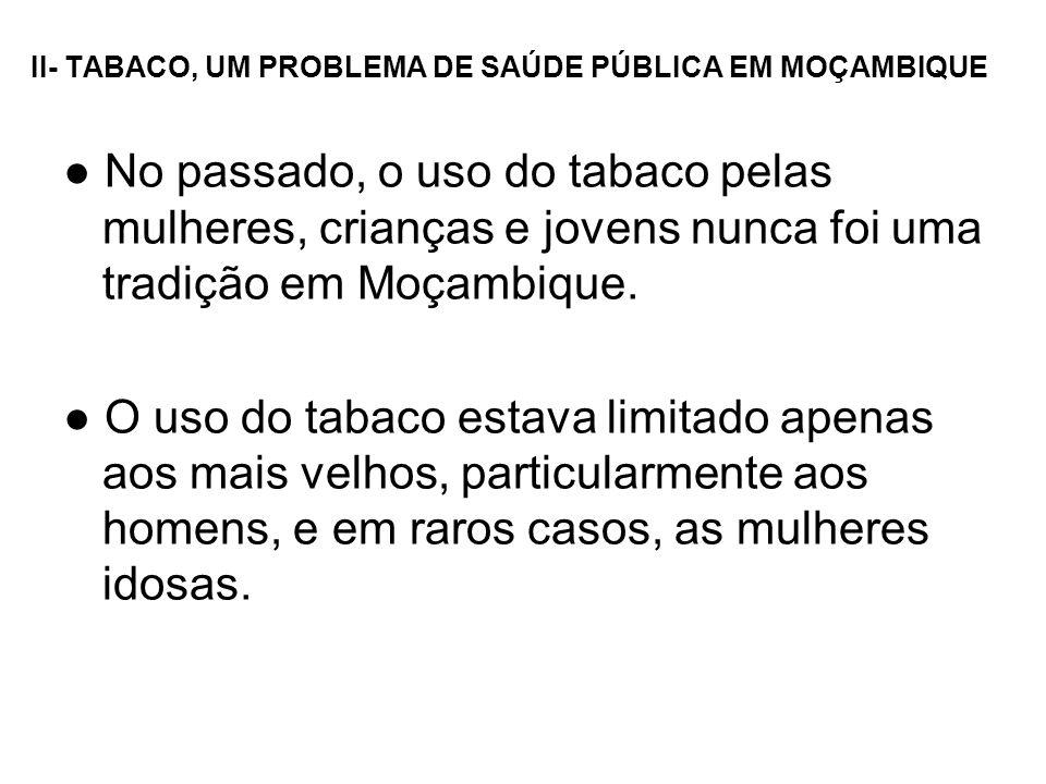 II- TABACO, UM PROBLEMA DE SAÚDE PÚBLICA EM MOÇAMBIQUE