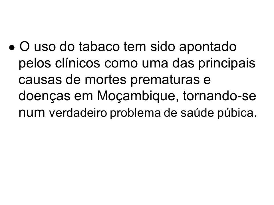 ● O uso do tabaco tem sido apontado pelos clínicos como uma das principais causas de mortes prematuras e doenças em Moçambique, tornando-se num verdadeiro problema de saúde púbica.