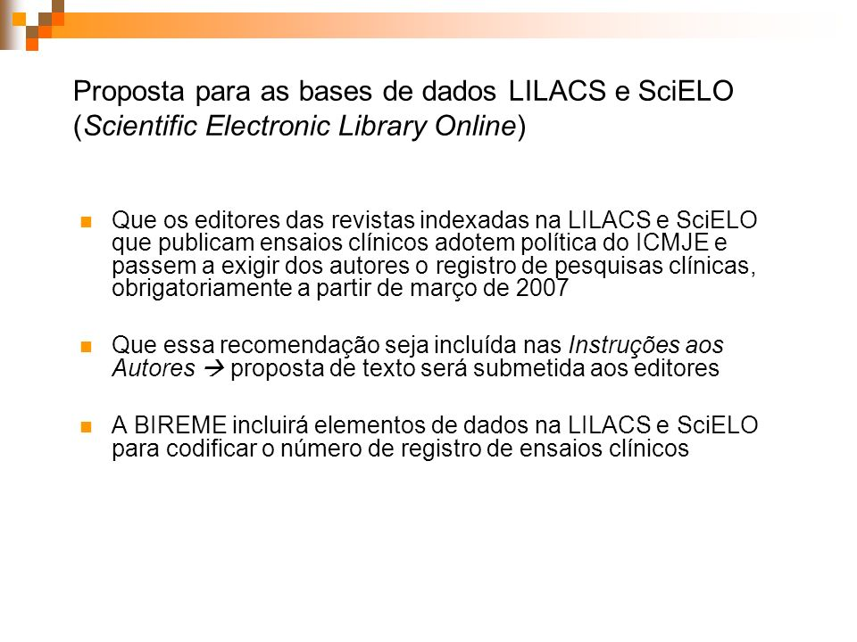 Proposta para as bases de dados LILACS e SciELO (Scientific Electronic Library Online)