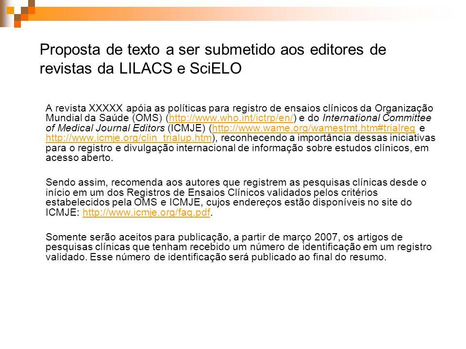 Proposta de texto a ser submetido aos editores de revistas da LILACS e SciELO