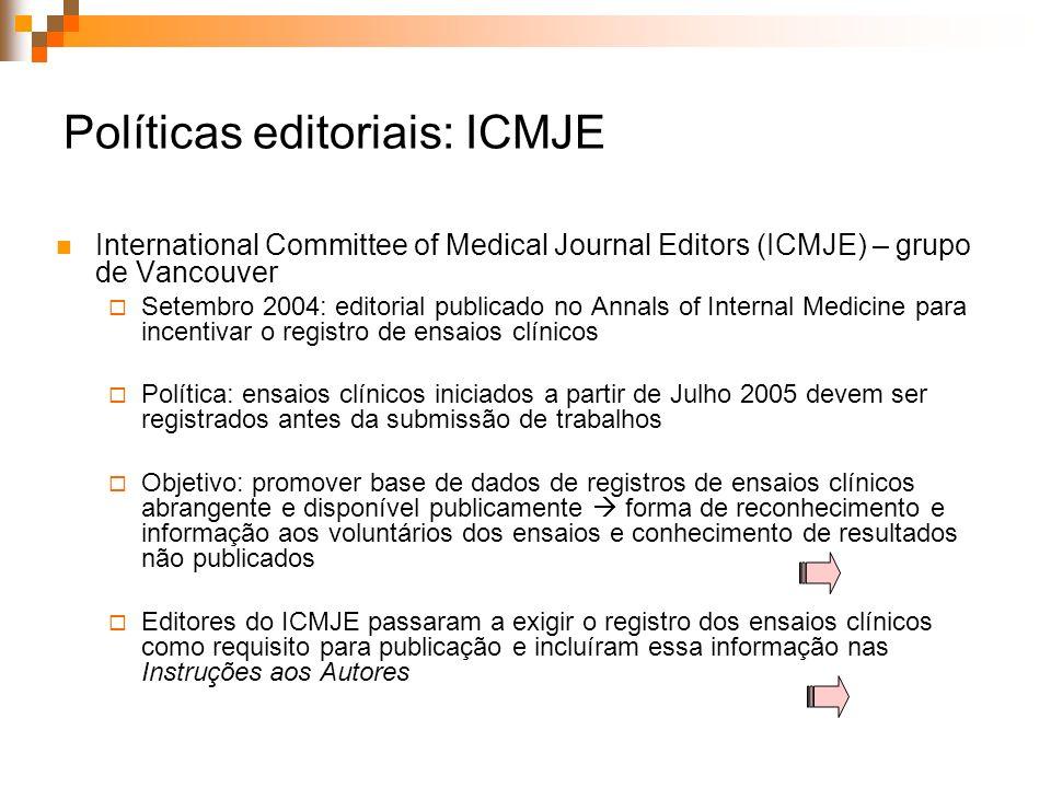 Políticas editoriais: ICMJE