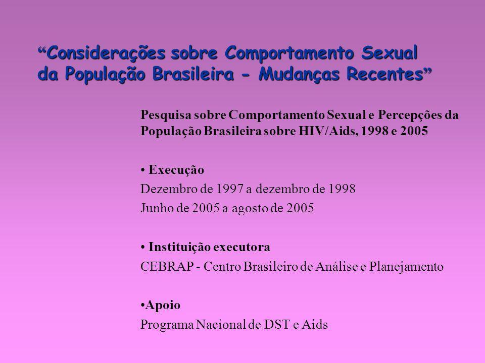 Considerações sobre Comportamento Sexual da População Brasileira - Mudanças Recentes