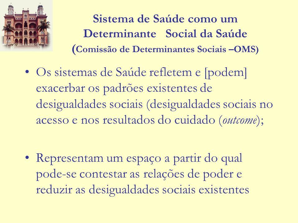 Sistema de Saúde como um Determinante Social da Saúde (Comissão de Determinantes Sociais –OMS)