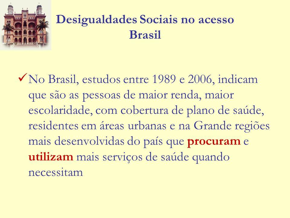 Desigualdades Sociais no acesso Brasil