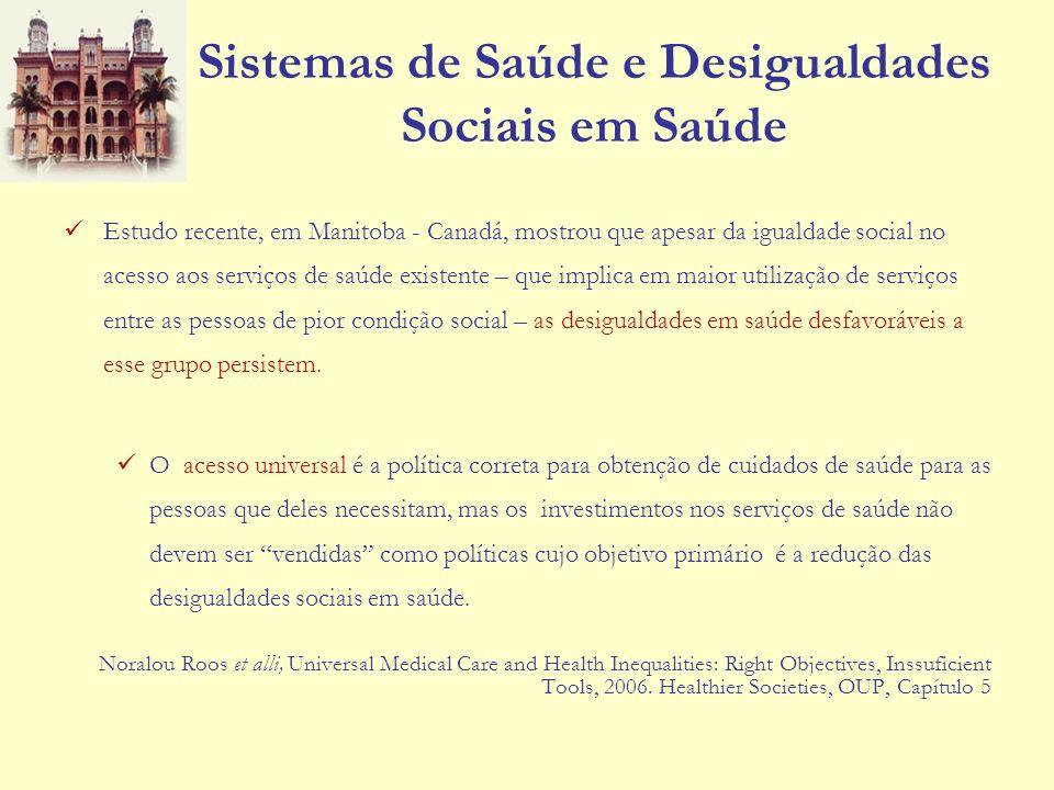 Sistemas de Saúde e Desigualdades Sociais em Saúde