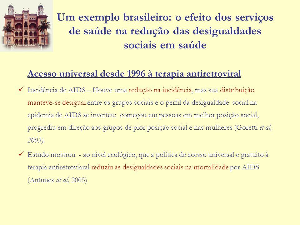Um exemplo brasileiro: o efeito dos serviços de saúde na redução das desigualdades sociais em saúde