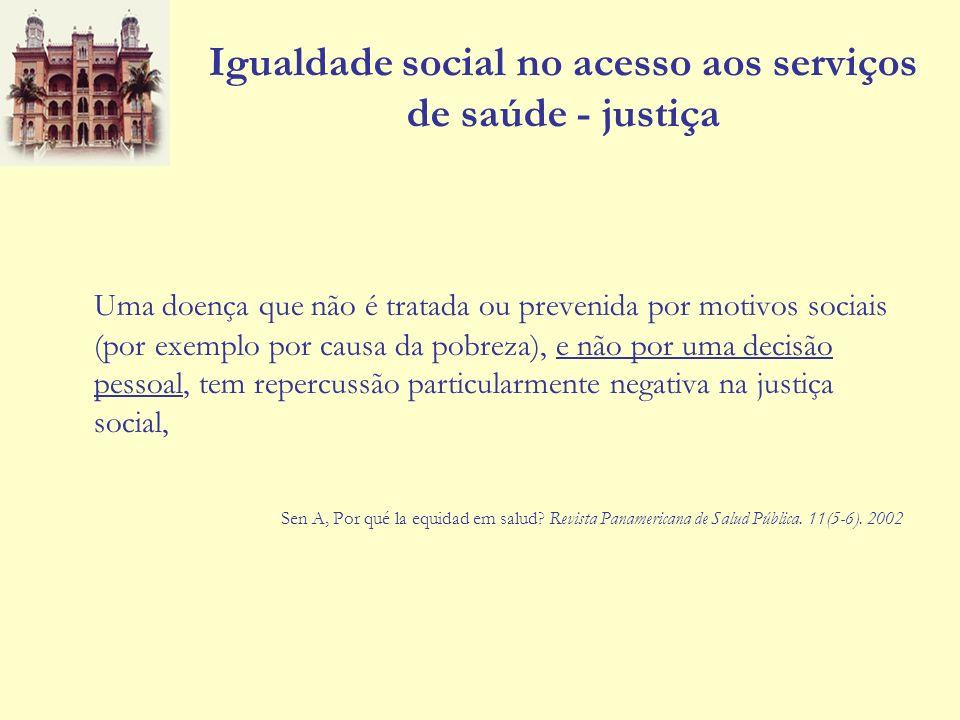 Igualdade social no acesso aos serviços de saúde - justiça