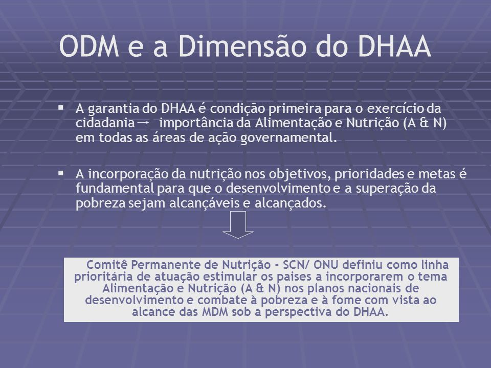 ODM e a Dimensão do DHAA