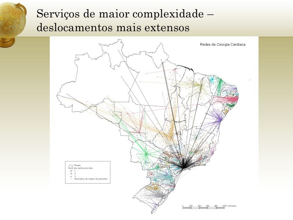Serviços de maior complexidade – deslocamentos mais extensos